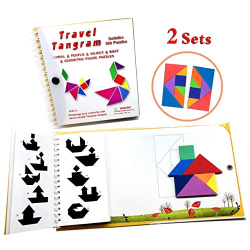 (Tangram Travel Games 360 Magnetic Puzzles and Questions Build Animals People Objects with 7 Simple Magnetic Colorful Shapes Kid Adult Challenge IQ Educational Book【2 Set of)