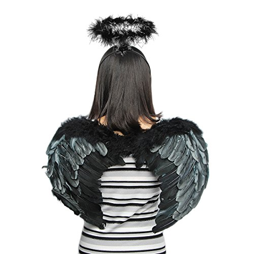 Halloween Dark Angel (Halloween Dark Angel Dress Up Feather Wings with Head)