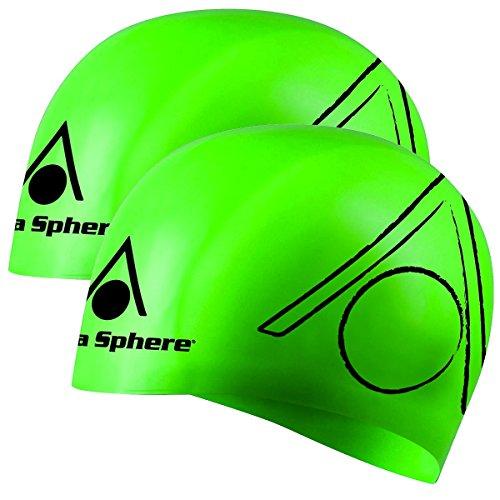 (Aqua Sphere 2pk Tricap Adult Silicone Wrinkle Free 100% UV Protection Swim Cap)
