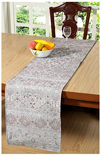 Ramanta Home Beige Table Runner 90inch,Jute Polyester Printed Fabric Table Runner,Decorative Table Runner,Farmhouse Table Runner,Rustic Bridal Shower Decor Table Runner,Wedding Table Runner-16x90