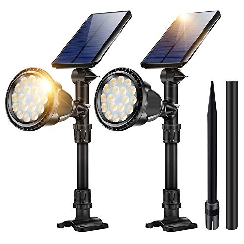 (Outdoor Solar Spot Lights,18 LED Spotlights Waterproof Flood Light Solar Security Lamps In-Ground Lights Warm White 2 Pack)