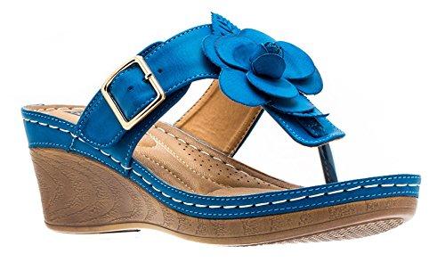 Gc Women's Sydney Rosette Fl Sandals Wedge Slide Cobalt Shoes frgqWf