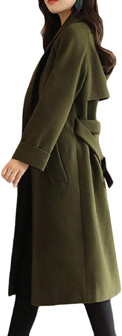 Unastar Women Wool Blends Belted Curvy Notch Collar Trench Coat Parka Jacket