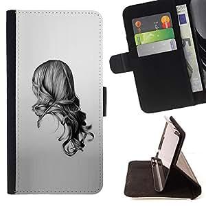 "For Motorola Moto E ( 2nd Generation ),S-type Chica Negro Blanco Dibujo minimalista"" - Dibujo PU billetera de cuero Funda Case Caso de la piel de la bolsa protectora"