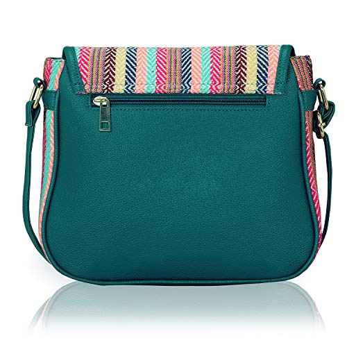 KLEIO Stylish Jacquard PU Leather Side Cross Body Sling Handbag Purse For Women/Girls