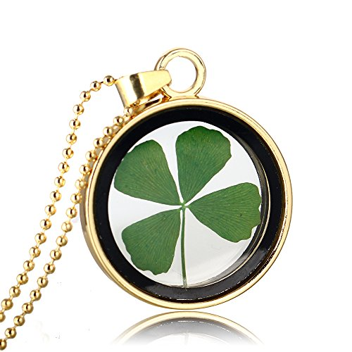 (FM FM42 Gold-tone Dried Leaves Lucky 4-Leaf Clover Round Glass Locket Pendant Necklace FN3058)