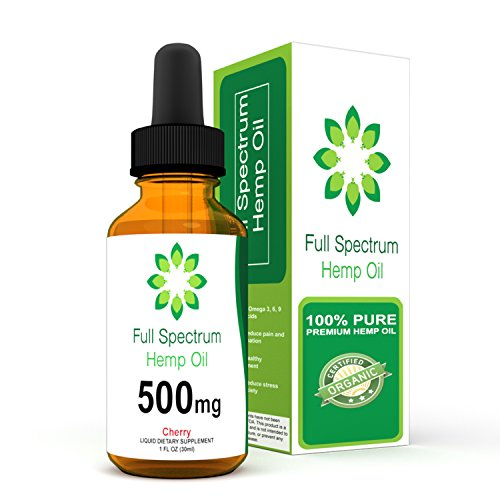 Hemp Oil for Pain Relief - Helps with Anxiety, Chronic Pain, Sleep, Mood, Skin and Hair - Herbal Drops - Rich in Omega 3,6,9 Fatty Acids - Natural Anti Inflammatory - 500mg - Cherry Flavor - 500 Mg Cherry