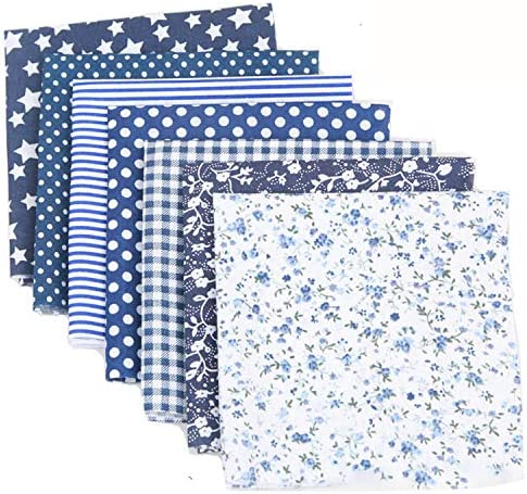 7PCS 50 50cm Cotton Craft Fabric Bundle Patchwork Squares Quilting Sewing Patchwork Different Pattern Cloths DIY Scrapbooking Artcraft (Navy Blue Series)