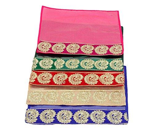 Kuber Industries Designer Zari Border Flip Saree Cover Set of 5 Pcs