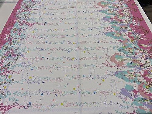 ホラグチカヨ 綿麻キャンバス フラワーシャワー ピンク |かわいい |安い|服地| ソーイング