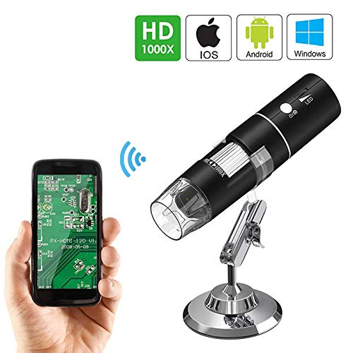 WiFi Endoscope HD Industrial Digital Electron Microscope 1000x Magnification Mini Camera with 8 LED Lights Compatible with Android iOS Windows Mac,1280x720p from WSJS