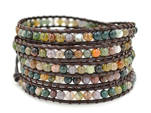 Multi Color Agate Bracelet - MO SI YI Multi-Layer Braided Genuine Leather wrap Bracelets Multi-Color Rounded Agate Women Girls Men 1/2/3/5 Wrapped 4mm/6mm Beads