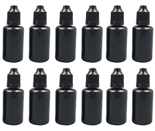 30ml/1oz Black Plastic Refillable Empty Dropping Refueling Bottles Eye Liquid Squeezable Dropper Vials Sample Packing Storage Holder Container with Safety Screw Cap And Removable Plug (50PCS)