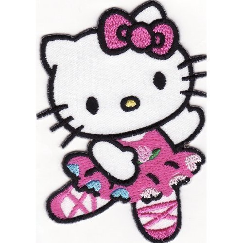 New Hello Kitty Cartoon Comics Cartoon Logo Kid Polo T Shirt Patch Ballet Dancers Embroidered 6.3cm X 8.5cm - Hello Kitty Applique
