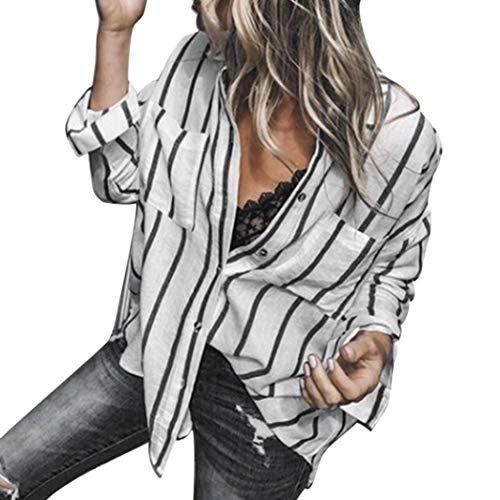 zahuihuiM Casual Stripe Shirt, Femmes Automne Mode Tops  Manches Longues Poche Pur Couleur Bouton Blouses Manteau Noir
