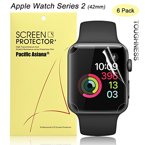 Apple Watch Series 2 42mm Screen Protector, [6-Pack] Pacific Asiana Premium [Full Coverage] Ultra HD Clear Anti-Bubble TPU Screen Protector, Invisible [Anti-scratch] Smart Watch Skin Cover (Urethane Gap Guards)