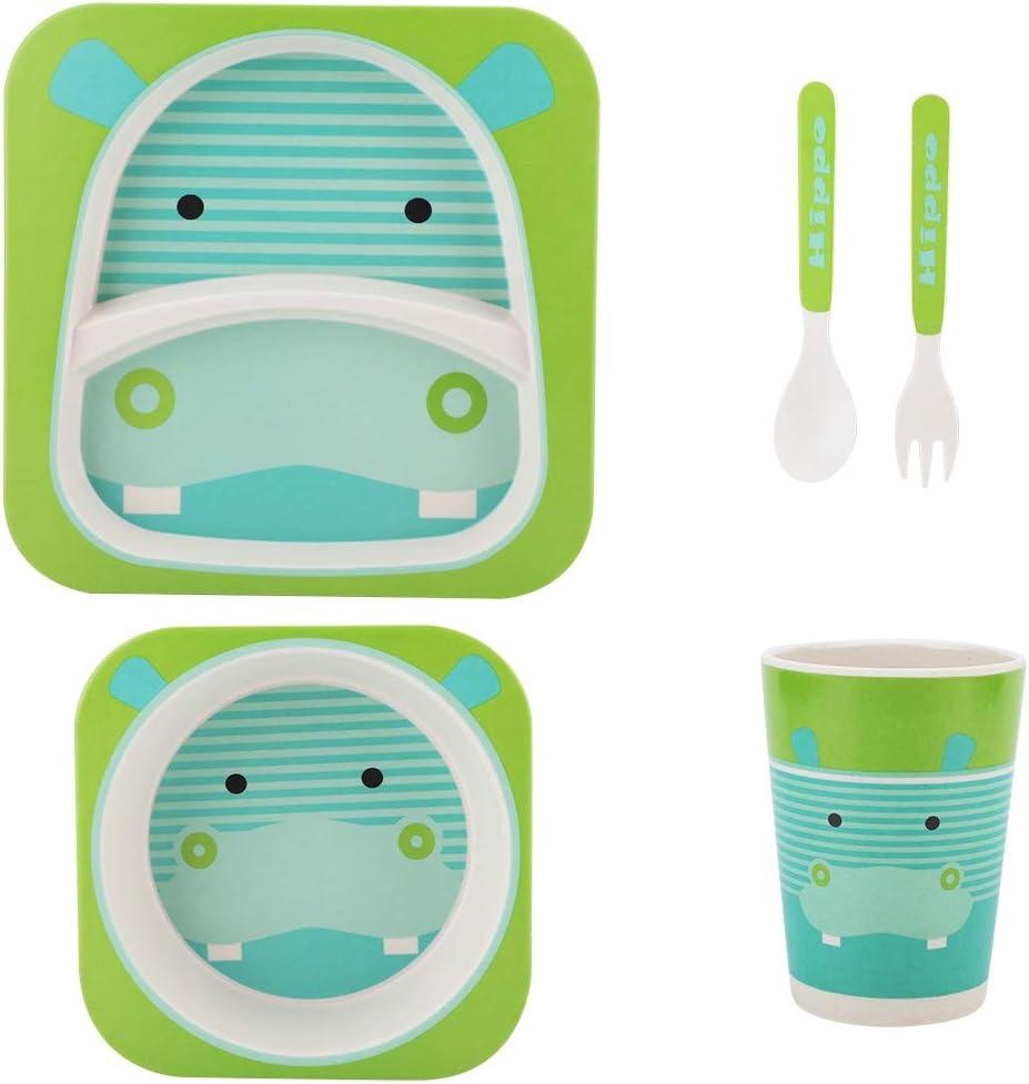 5pcs Kids Bamboo Fiber Dinnerware Set for Baby Feeding Animal Cartoon Children Tableware Plate Bowl Fork Spoon Cup for Baby Kids Feeding Supplies #2