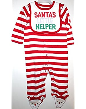 Carter's Boy Girl First Christmas Sleep Play Romper and Santa's Helper Bib Set