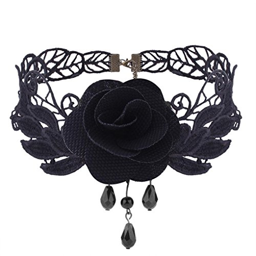 Choker Flowers Necklace - ManxiVoo Women Flower Choker Girl Gothic Lolita Black Lace Collar Choker Necklace Retro Rose Collarbone Chain Clavicle Necklace (Black)