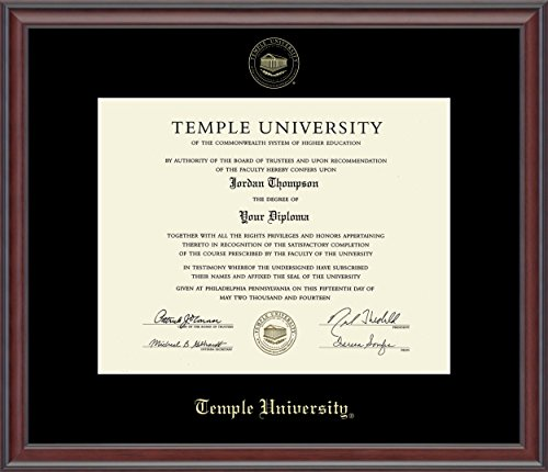 Temple University Gold Embossed Diploma Frame - Features Solid Wood