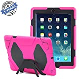 KIDSPR iPad Cases,iPad 2 Case,iPad 4 Case,TRAVELLOR[Heavy Duty] iPad Case,Three Layer Armor Defender and Full Body Protective Case Cover with Kickstand and Screen Protector for iPad 2/3/4 Rose/Black