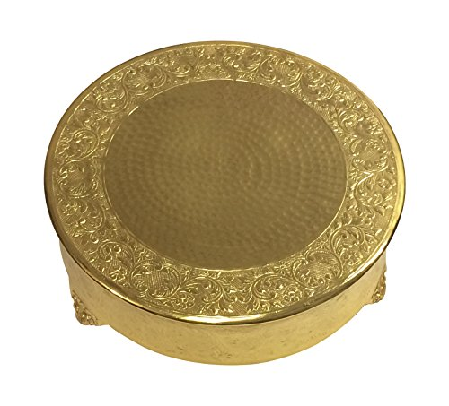 GiftBay Wedding Cake Stand Round 18-Inch, Newly Designed Nov. 2017, Electro-Plated Gold Finish, Aluminum (Gold Finish Stand)