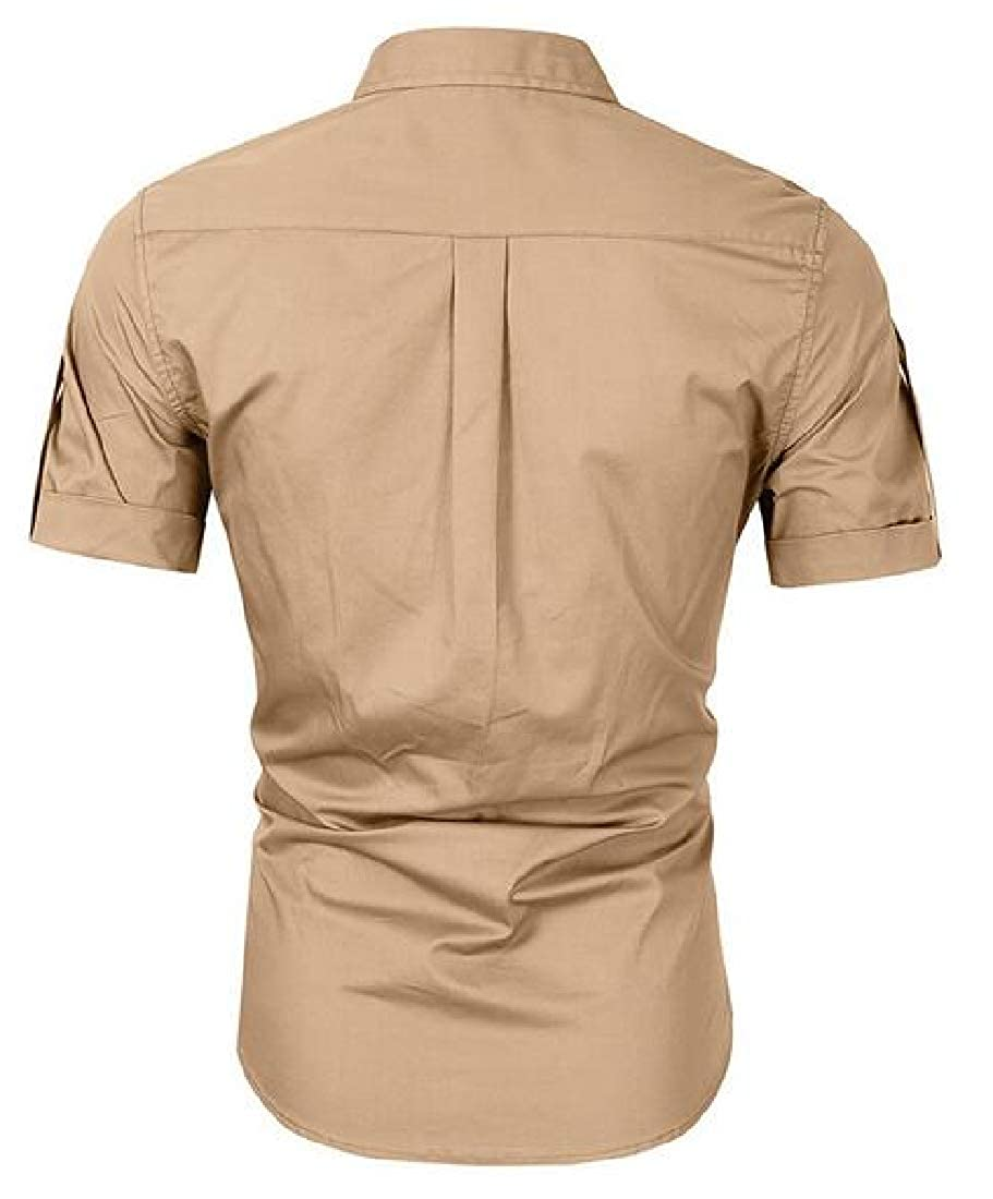 Hajotrawa Mens Casual Slim Fit Button Down Outdoor Short Sleeve Solid Color Shirts