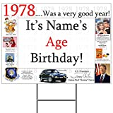 Partypro 1978 40th BIRTHDAY YARD SIGN Customized by