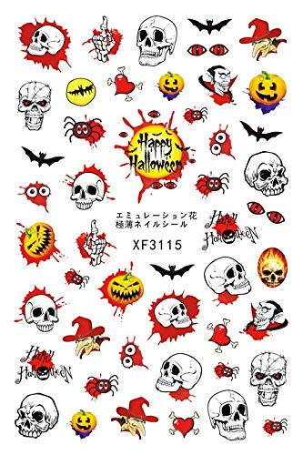 UOKNICE Halloween Horror Design 3D Nail Art Stickers Manicure Adhesive Transfer -