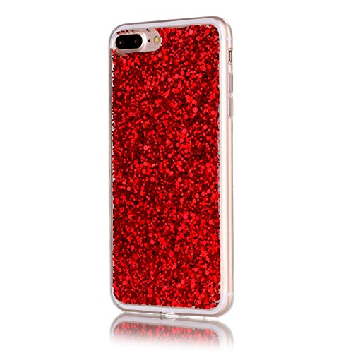 Moonmini iPhone 7 Plus 2 in 1 Hybrid Dual Layer Soft TPU Inner Bumper Protective Sparkle Shiny Bling Glitter Shine Cover Hexagonal Star Pattern Shiny Soft Gel TPU Silicone Red