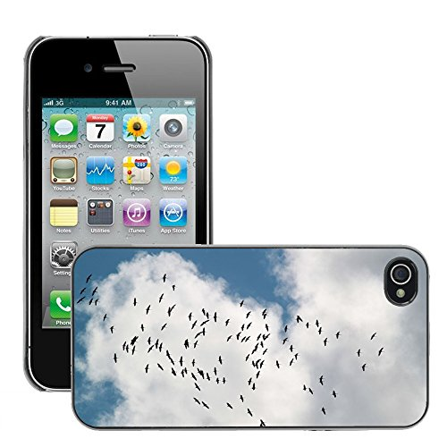 Bild Hart Handy Schwarz Schutz Case Cover Schale Etui // M00134738 Vogelschwarm Zugvögel Cranes // Apple iPhone 4 4S 4G