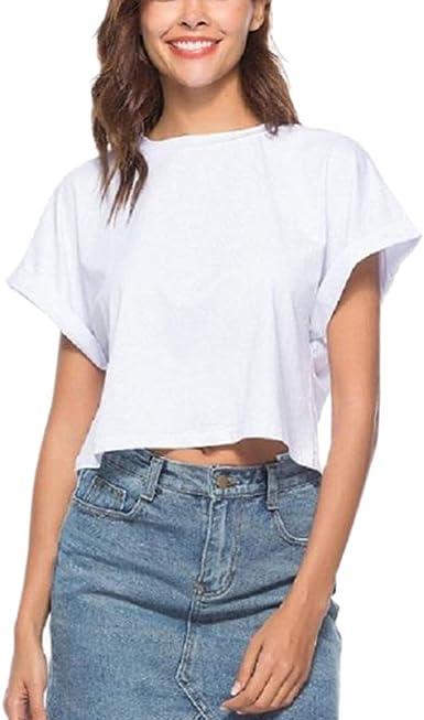 P Prettyia Las Mujeres Camiseta Blanca De Verano De Algodón Suave De Las Mujeres Blusas De Manga Corta Tops - Blanco, S: Amazon.es: Ropa y accesorios