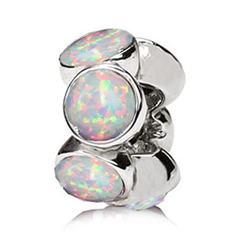 Sterling Silver Rondel Charm with 6 Pieces 5mm Lab Created White Opal