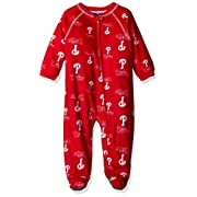 Outerstuff MLB Philadelphia Phillies Infant Boys Sleepwear All Over Print Zip Up Coveralls, 12 Months, Athletic Red