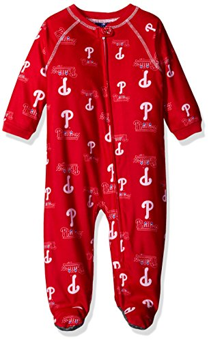 - Outerstuff MLB Philadelphia Phillies Infant Boys Sleepwear All Over Print Zip Up Coveralls, 24 Months, Athletic Red