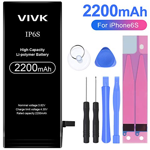 VIVK Battery for iPhone 6s, 2200mAh High Capacity Li-polymer Replacement Battery with Complete Repair Tool Kit and Instructions - 24 Months Warranty ()