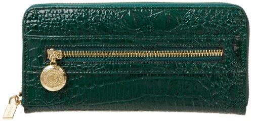 Anne Klein Leo Coin Zip Around Wallet,Bottle Green,One Size, Bags Central