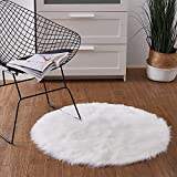 Ashler Faux Fur White Round Area Rug Indoor Ultra Soft Fluffy Bedroom Floor Sofa Living Room 3 x 3 Feet