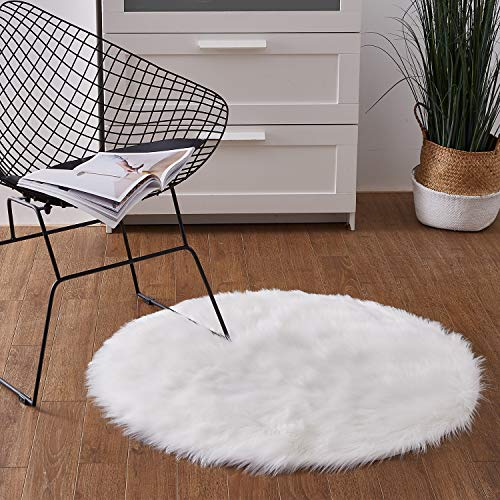 Ashler Soft Faux Round Fur Chair Couch Cover White Area Rug for Bedroom Floor Sofa Living Room Round 3 x 3 Feet