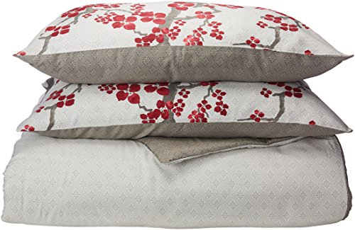N Natori Cherry Blossom King Size Bed Comforter Set - Red, Grey, Cherry Blossom - 4 Pieces Bedding Sets - 100% Cotton Sateen Bedroom Comforters