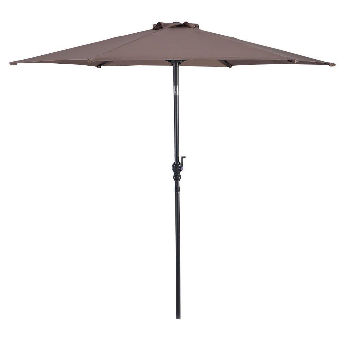 Giantex 10ft Solar Patio Umbrella Sunbrella Without LED Lighted, 6 Ribs Market Steel Tilt w/Crank for Garden, Deck, Backyard, Pool Indoor Outdoor Use, Tan