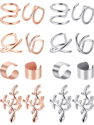 - Blulu 8 Pairs Non Piercing Stainless Steel Ear Cuff Set Cartilage Cuff Clip On Earrings Fake Ear Cuff for Women (Steel and Rose Gold)