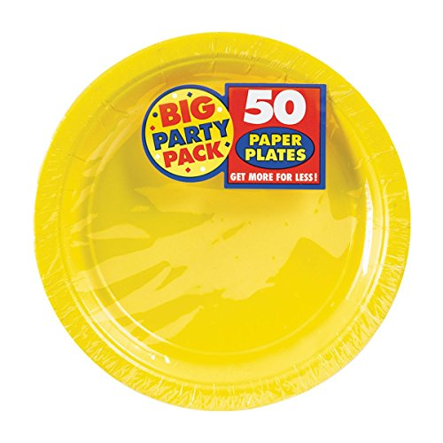 AMSCAN Big Party Pack Paper Luncheon Plates 7-Inch, 50/Pkg, Sunshine Yellow