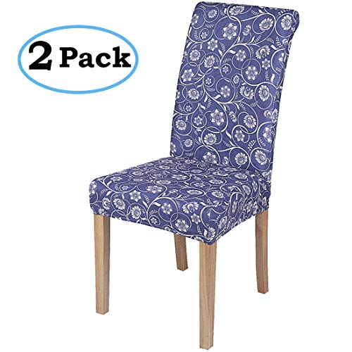 misaya Stretch Dining Room Chair Cover Spandex Removable Washable Floral Printing Chair Slipcover for Kitchen, Set of 2, Style 12 (Floral Chair Slipcover)