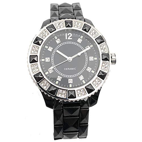 Women's Genuine Ceramic Analog Dress Bracelet Watch with Crystal Bezel by Adrienne ()