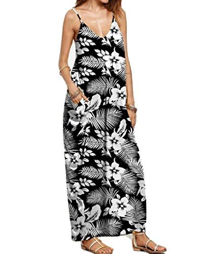 Bechwear Long Leisure Camisole Dress Women's Plus Size Printing Coolred 9 qEUATCwW