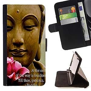 King Art - Premium-PU-Leder-Prima caja de la PU billetera de cuero con ranuras para tarjetas, efectivo Compartimiento desmontable y correa para la mu?eca FOR Sony Xperia Z1 M51W Z1 mini D5503- Buddha