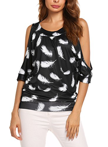 Easther Sexy Feather Printing Strapless Short Sleeve Crew Neck Loose T-Shirt (Strapless Feather)