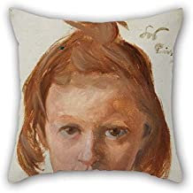 Throw Cushion Covers Of Oil Painting Stanis?aw Wyspia?ski - G?owa Dziewczynki For Car Father Floor Office Dining Room Kids Girls 16 X 16 Inches / 40 By 40 Cm(two Sides)