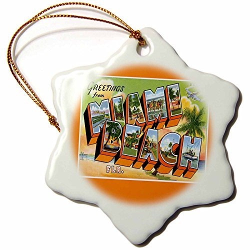 (BLN Vintage US Cities and States Postcard Designs - Greetings from Miami Beach Florida Bold Letters with Scenes from Miami - 3 inch Snowflake Porcelain Ornament (169758_1))